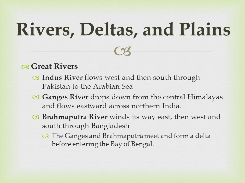 Rivers, Deltas, and Plains