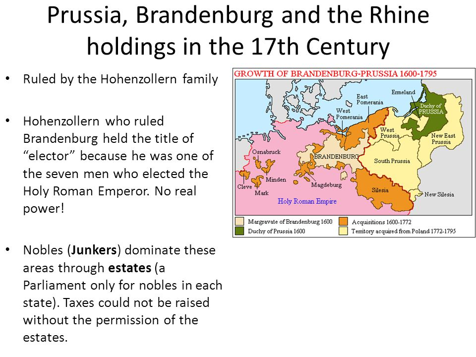Prussia, Brandenburg and the Rhine holdings in the 17th Century