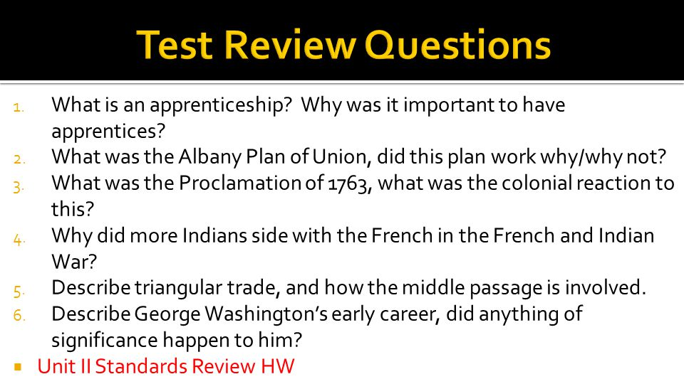 Test Review Questions What is an apprenticeship Why was it important to have apprentices