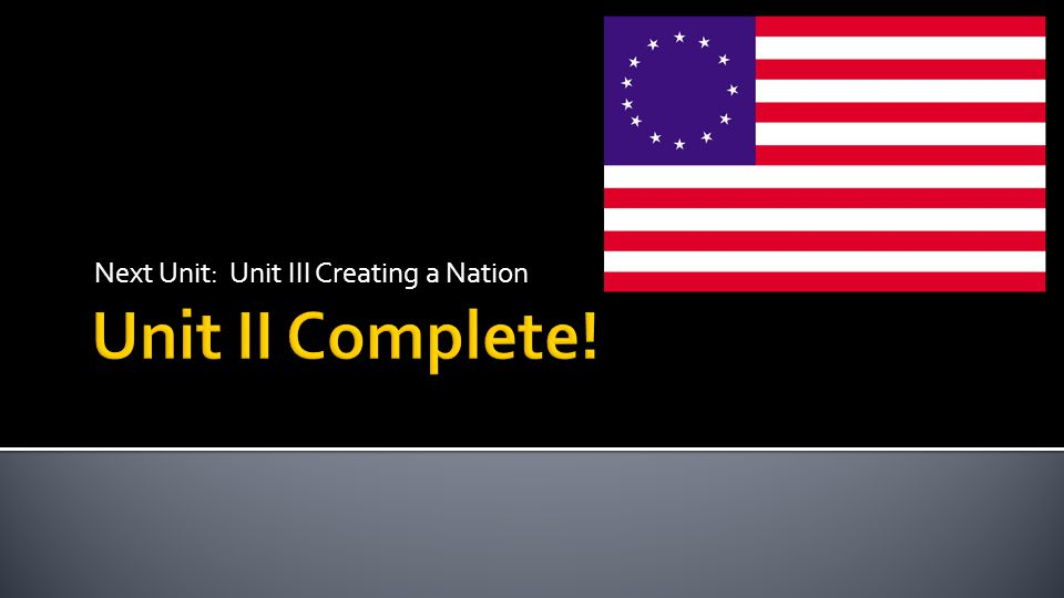 Next Unit: Unit III Creating a Nation