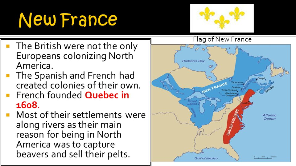 New France Flag of New France. The British were not the only Europeans colonizing North America.