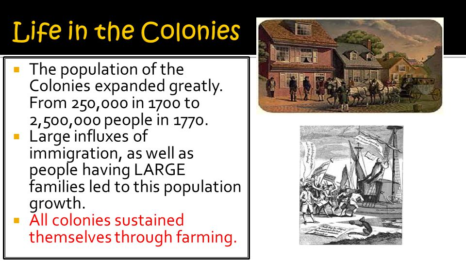 Life in the Colonies The population of the Colonies expanded greatly. From 250,000 in 1700 to 2,500,000 people in 1770.