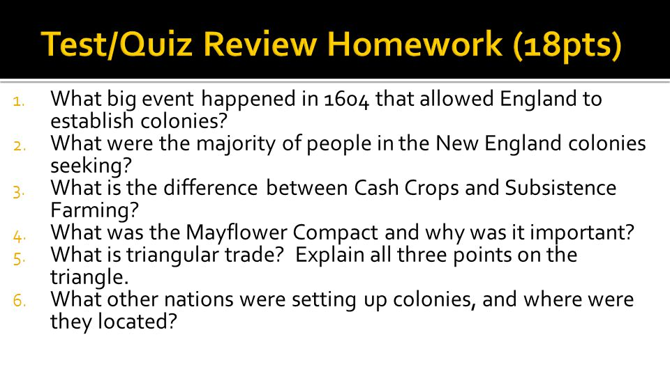Test/Quiz Review Homework (18pts)