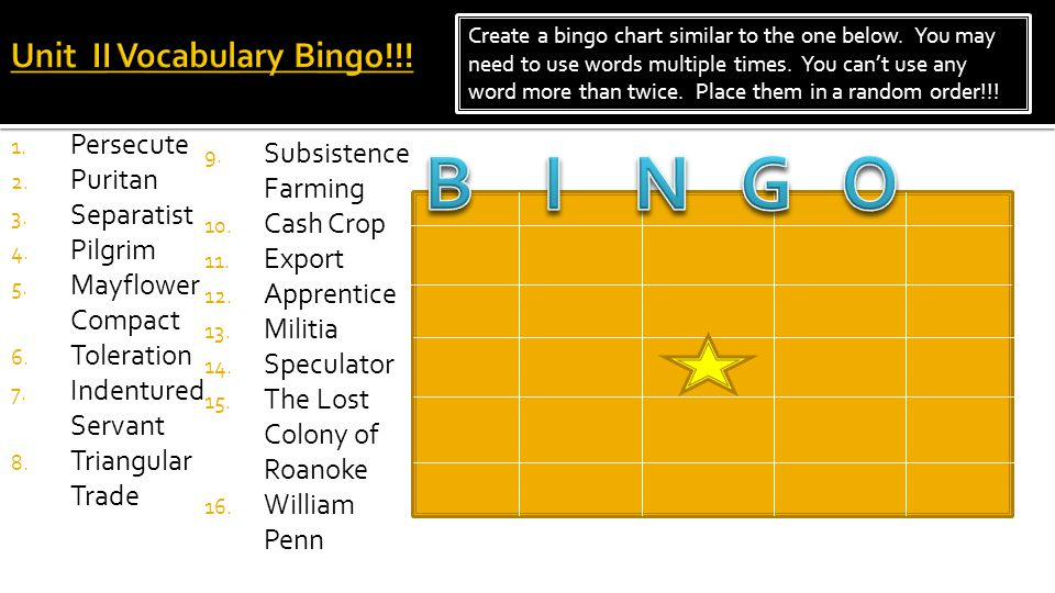 Unit II Vocabulary Bingo!!!