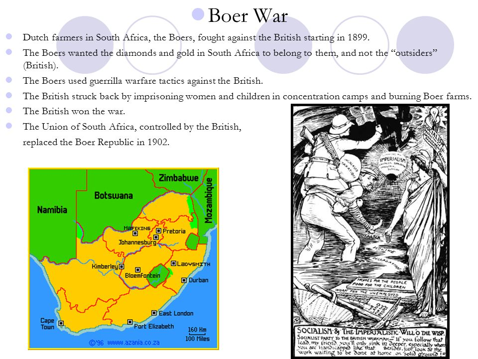 Boer War Dutch farmers in South Africa, the Boers, fought against the British starting in 1899.