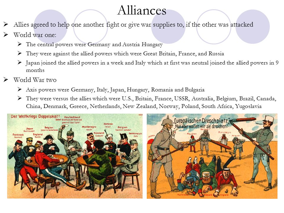 Alliances Allies agreed to help one another fight or give war supplies to, if the other was attacked.