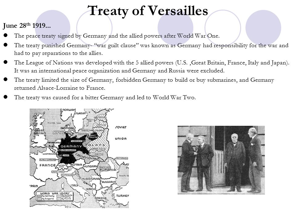 Treaty of Versailles June 28th 1919...