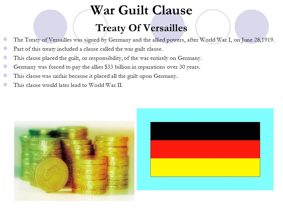 War Guilt Clause Treaty Of Versailles