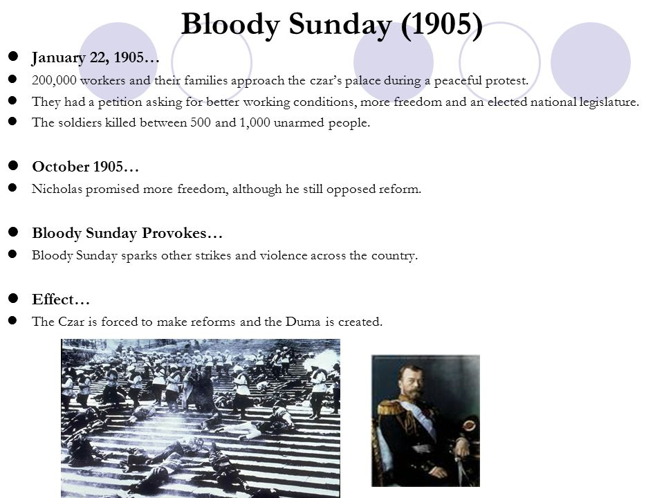 Bloody Sunday (1905) January 22, 1905… October 1905…