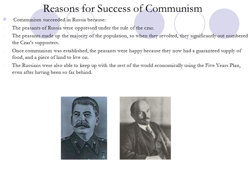 Reasons for Success of Communism