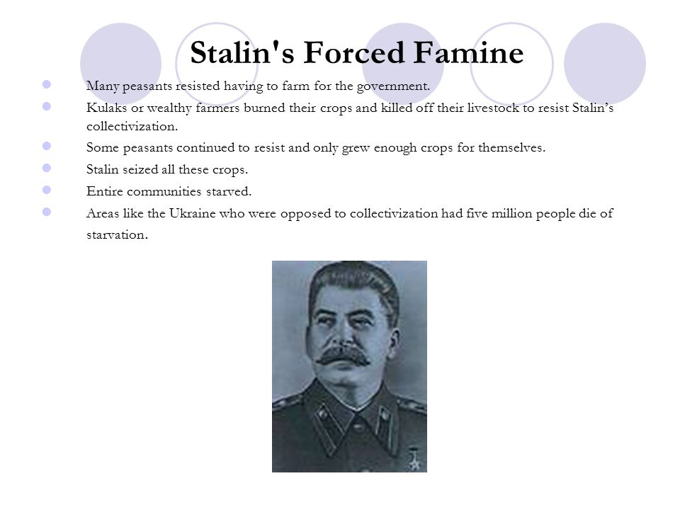 Stalin s Forced Famine Many peasants resisted having to farm for the government.