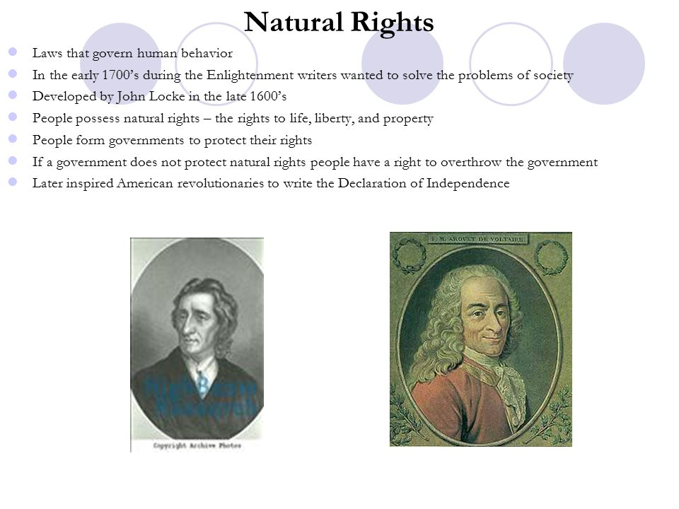 Natural Rights Laws that govern human behavior