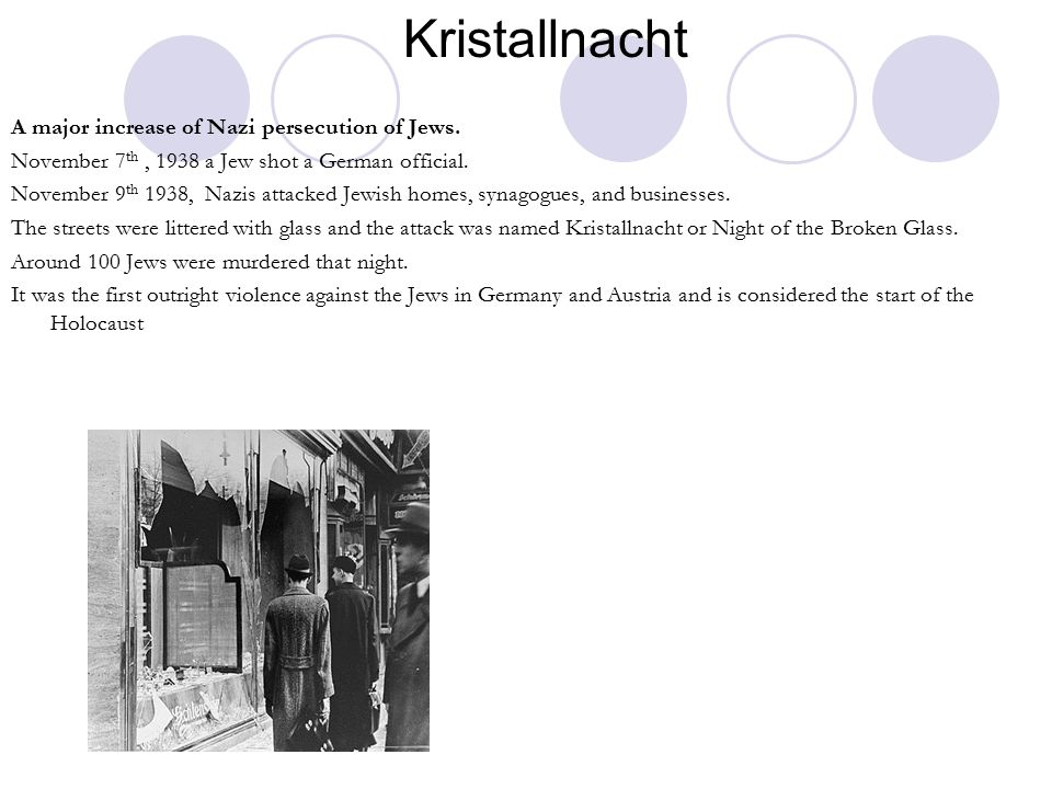 Kristallnacht A major increase of Nazi persecution of Jews.