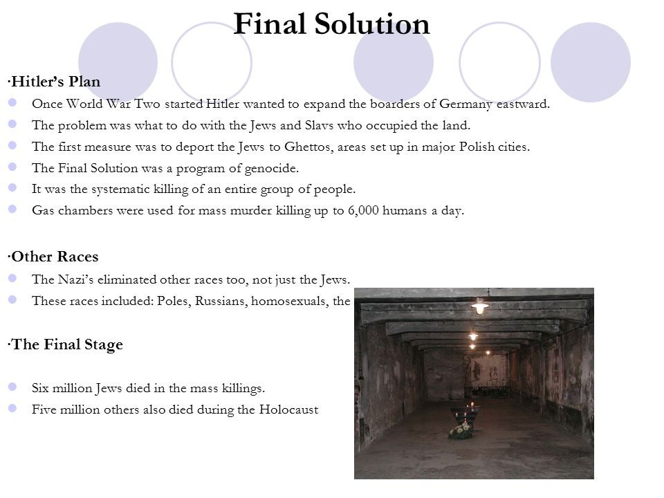 Final Solution ∙Hitler's Plan ∙Other Races ∙The Final Stage