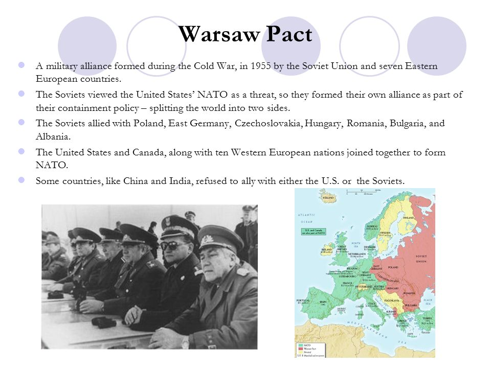 Warsaw Pact A military alliance formed during the Cold War, in 1955 by the Soviet Union and seven Eastern European countries.