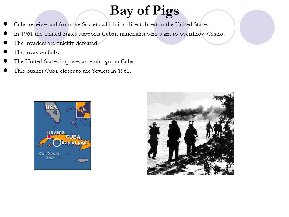 Bay of Pigs Cuba receives aid from the Soviets which is a direct threat to the United States.