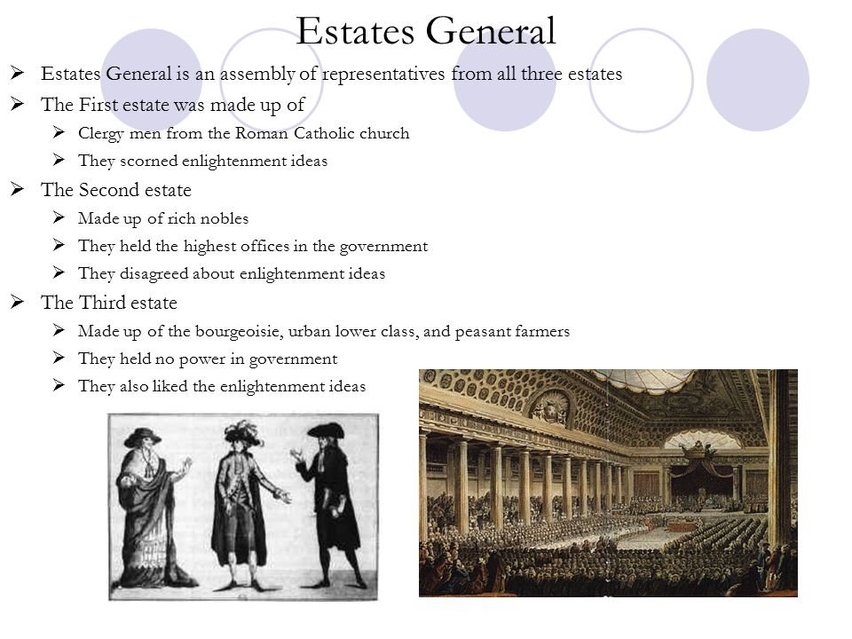 Estates General Estates General is an assembly of representatives from all three estates. The First estate was made up of.