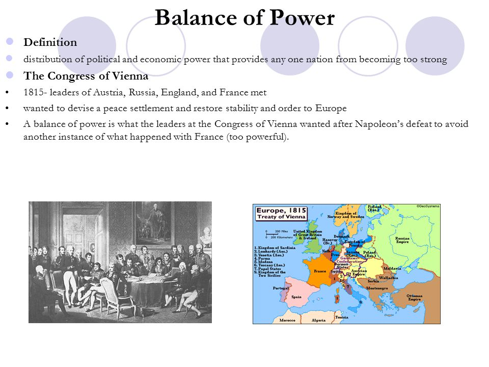 Balance of Power Definition The Congress of Vienna