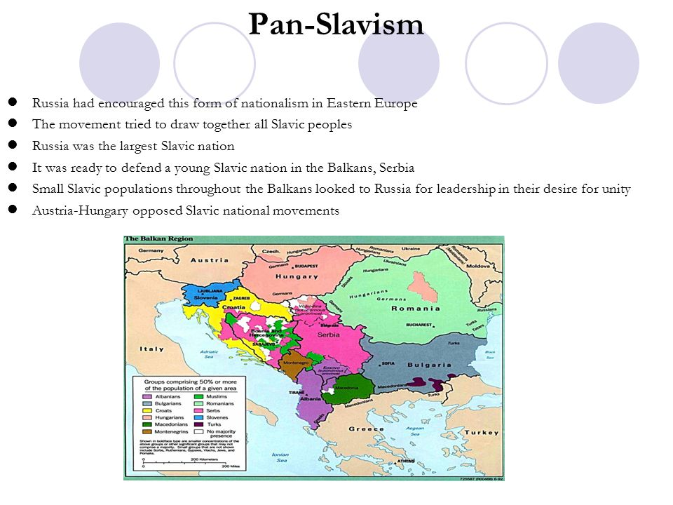 Pan-Slavism Russia had encouraged this form of nationalism in Eastern Europe. The movement tried to draw together all Slavic peoples.