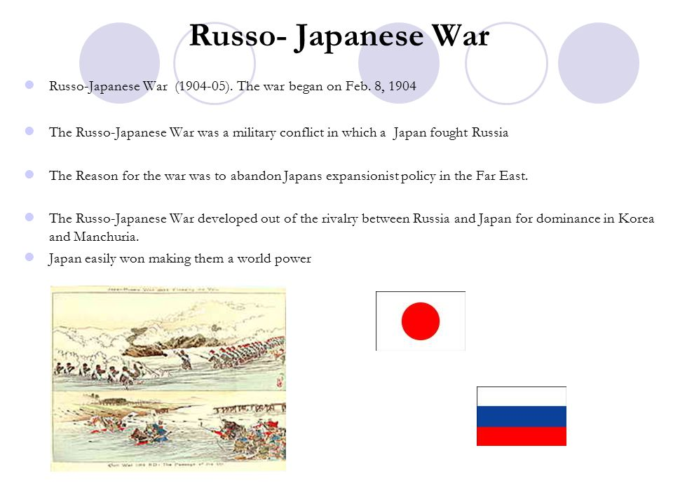 Russo- Japanese War Russo-Japanese War (1904-05). The war began on Feb. 8, 1904.