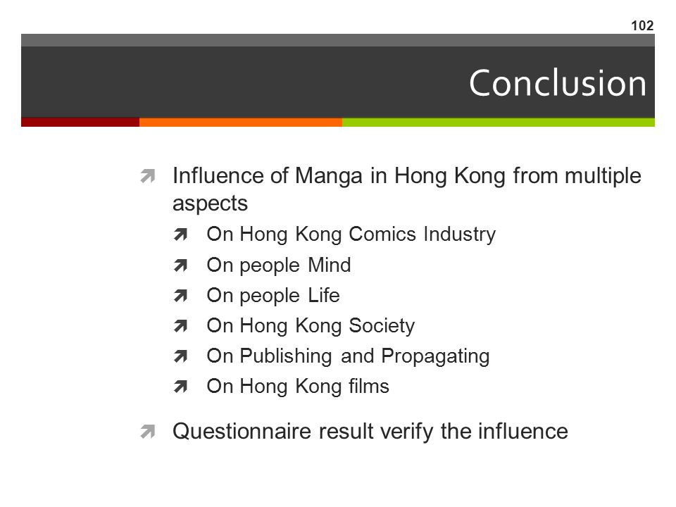 Conclusion Influence of Manga in Hong Kong from multiple aspects