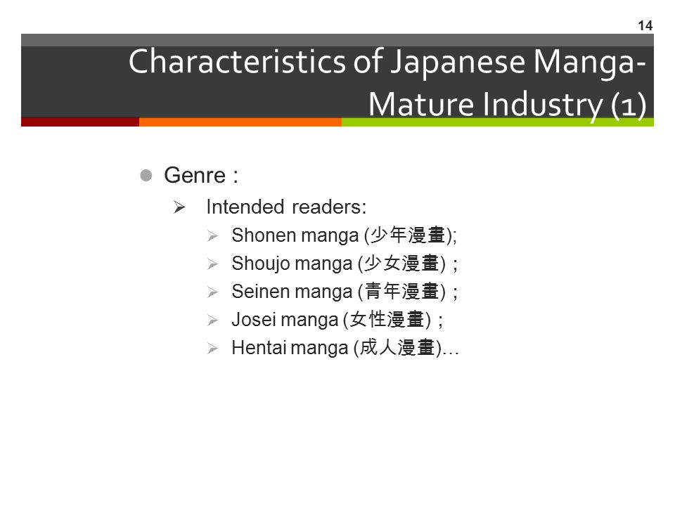 Characteristics of Japanese Manga- Mature Industry (1)