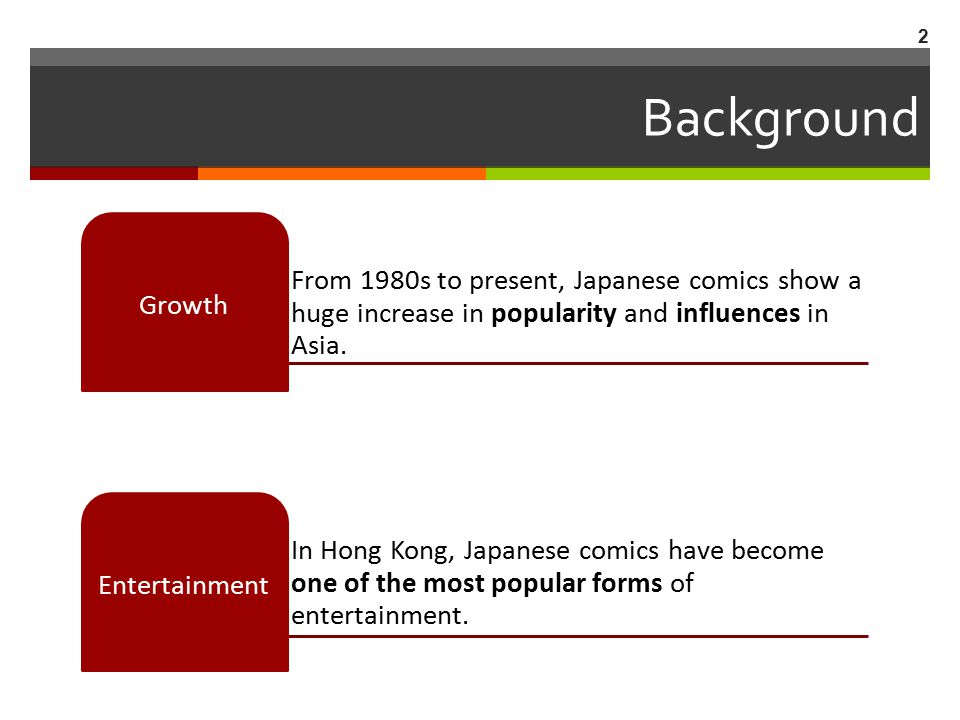 Background From 1980s to present, Japanese comics show a huge increase in popularity and influences in Asia.