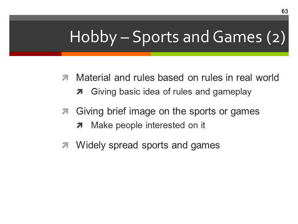 Hobby – Sports and Games (2)
