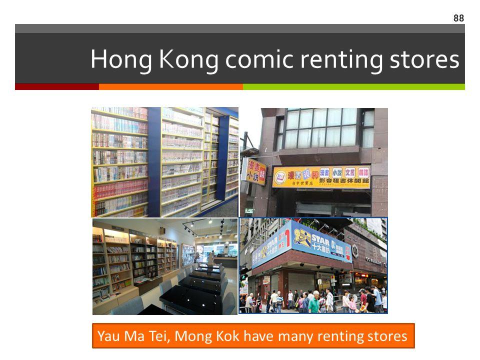 Hong Kong comic renting stores