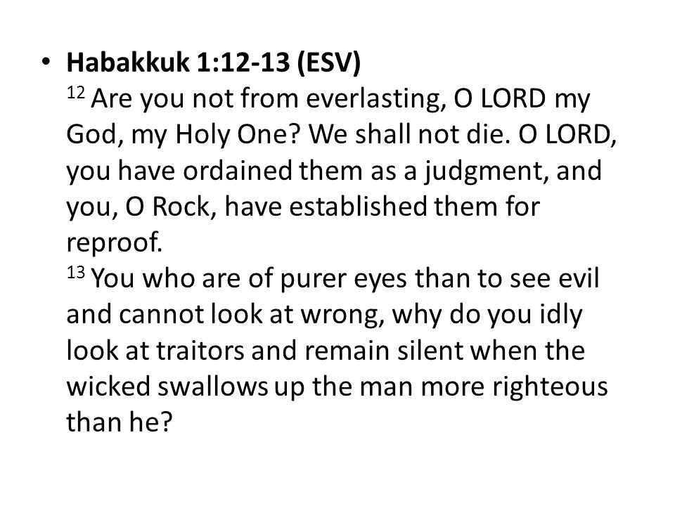 Habakkuk 1:12-13 (ESV) 12 Are you not from everlasting, O LORD my God, my Holy One.