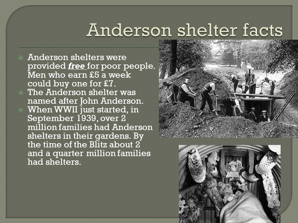 Anderson shelter facts