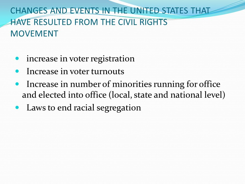 CHANGES AND EVENTS IN THE UNITED STATES THAT HAVE RESULTED FROM THE CIVIL RIGHTS MOVEMENT