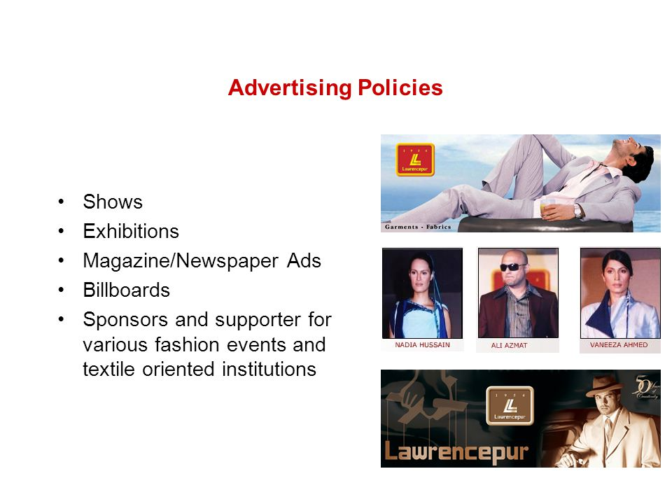 Advertising Policies Shows Exhibitions Magazine/Newspaper Ads