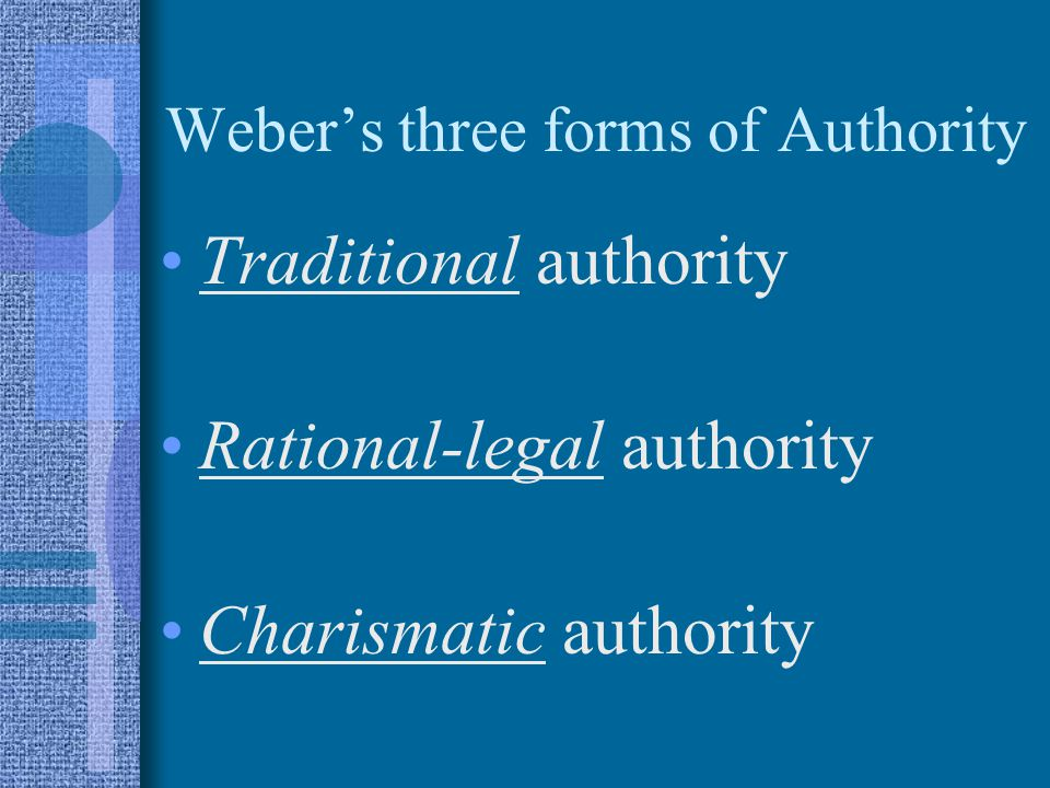 Weber's three forms of Authority