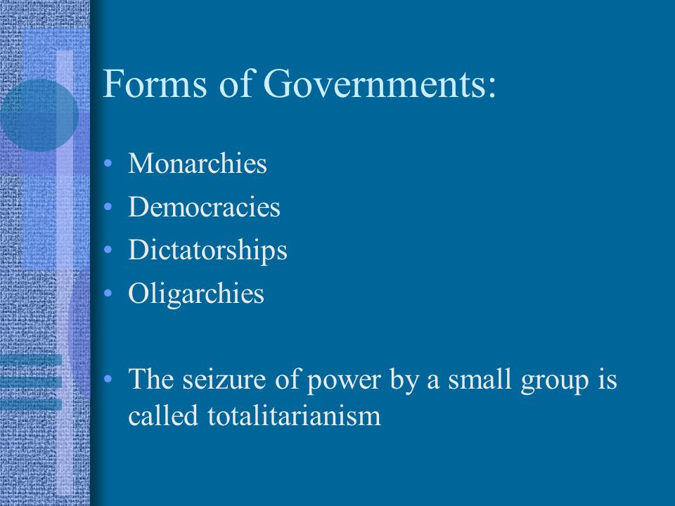 Forms of Governments: Monarchies Democracies Dictatorships Oligarchies