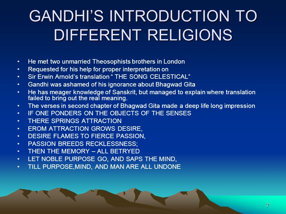 GANDHI'S INTRODUCTION TO DIFFERENT RELIGIONS