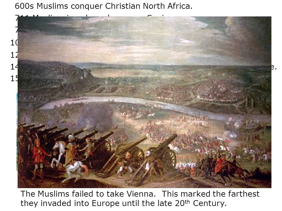 600s Muslims conquer Christian North Africa.