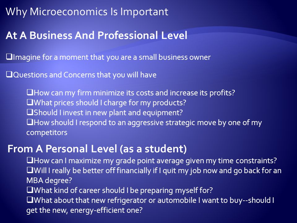 Why Microeconomics Is Important