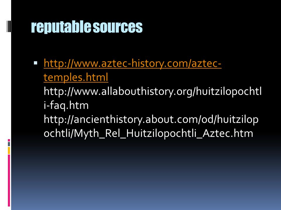 reputable sources