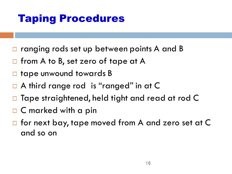 Taping Procedures ranging rods set up between points A and B