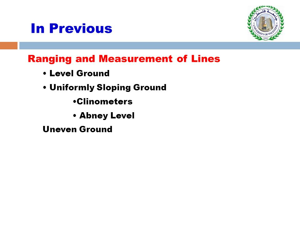 In Previous Ranging and Measurement of Lines Level Ground