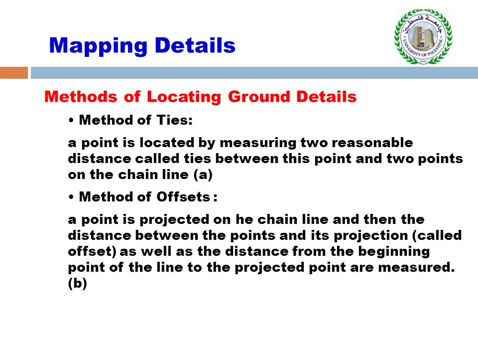 Mapping Details Methods of Locating Ground Details Method of Ties: