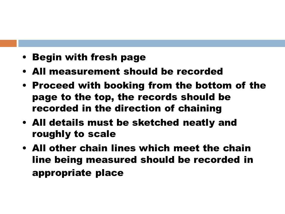 Begin with fresh page All measurement should be recorded.