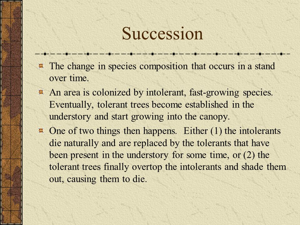 Succession The change in species composition that occurs in a stand over time.