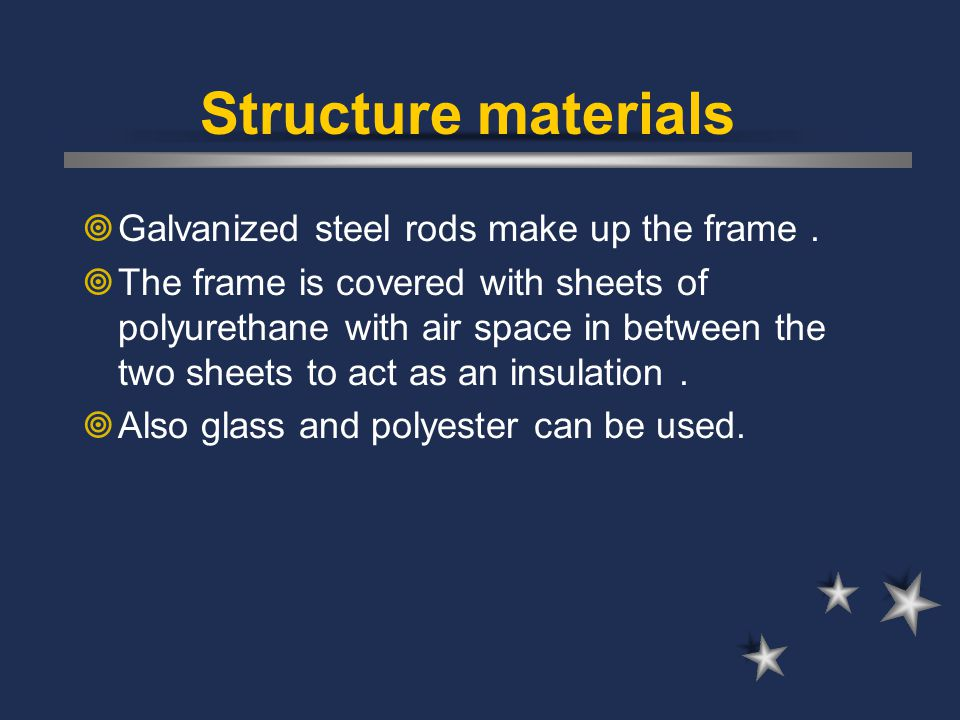 Structure materials Galvanized steel rods make up the frame .