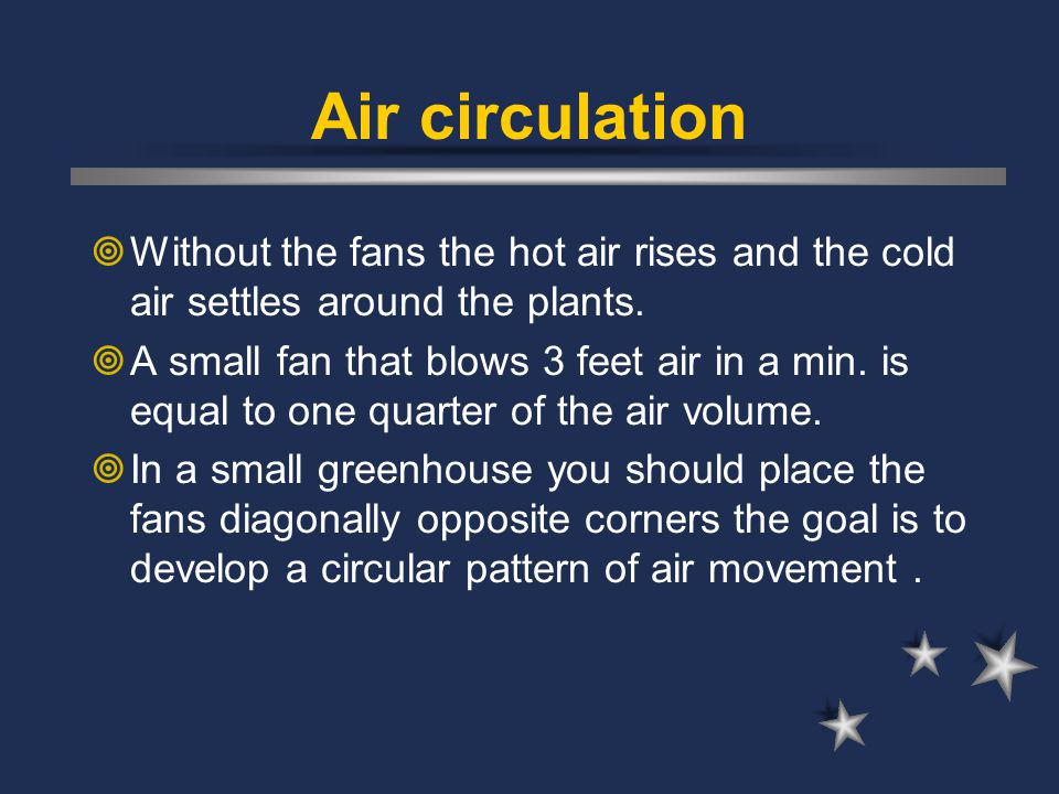 Air circulation Without the fans the hot air rises and the cold air settles around the plants.