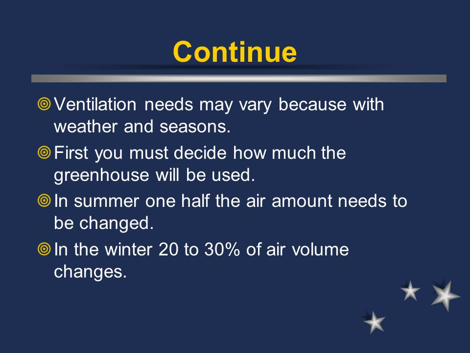 Continue Ventilation needs may vary because with weather and seasons.