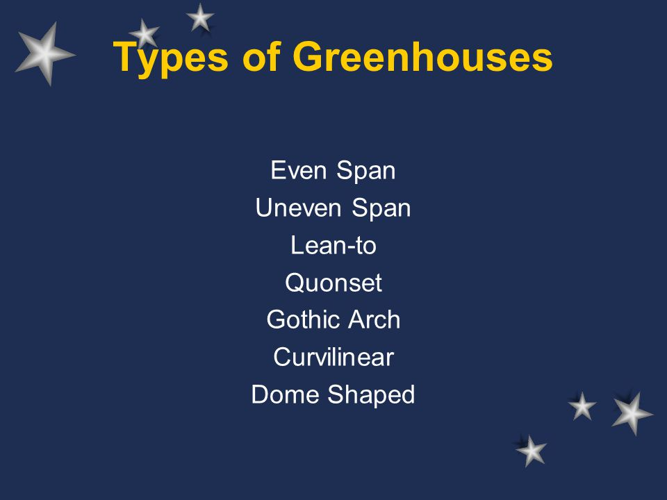 Types of Greenhouses Even Span Uneven Span Lean-to Quonset Gothic Arch
