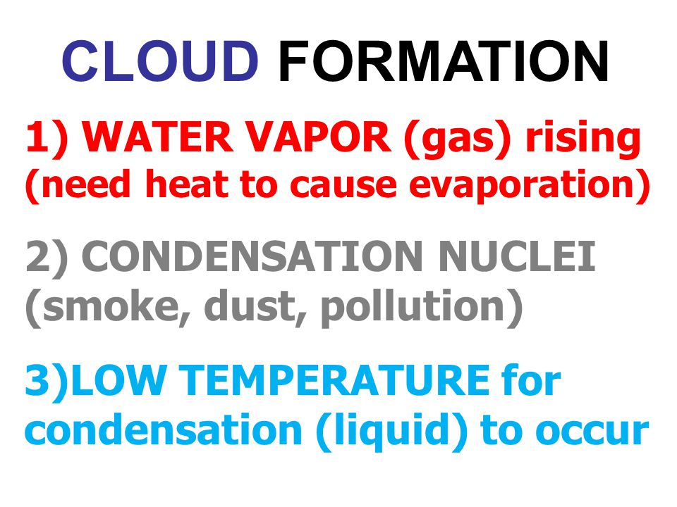 CLOUD FORMATION 1) WATER VAPOR (gas) rising (need heat to cause evaporation) 2) CONDENSATION NUCLEI (smoke, dust, pollution)