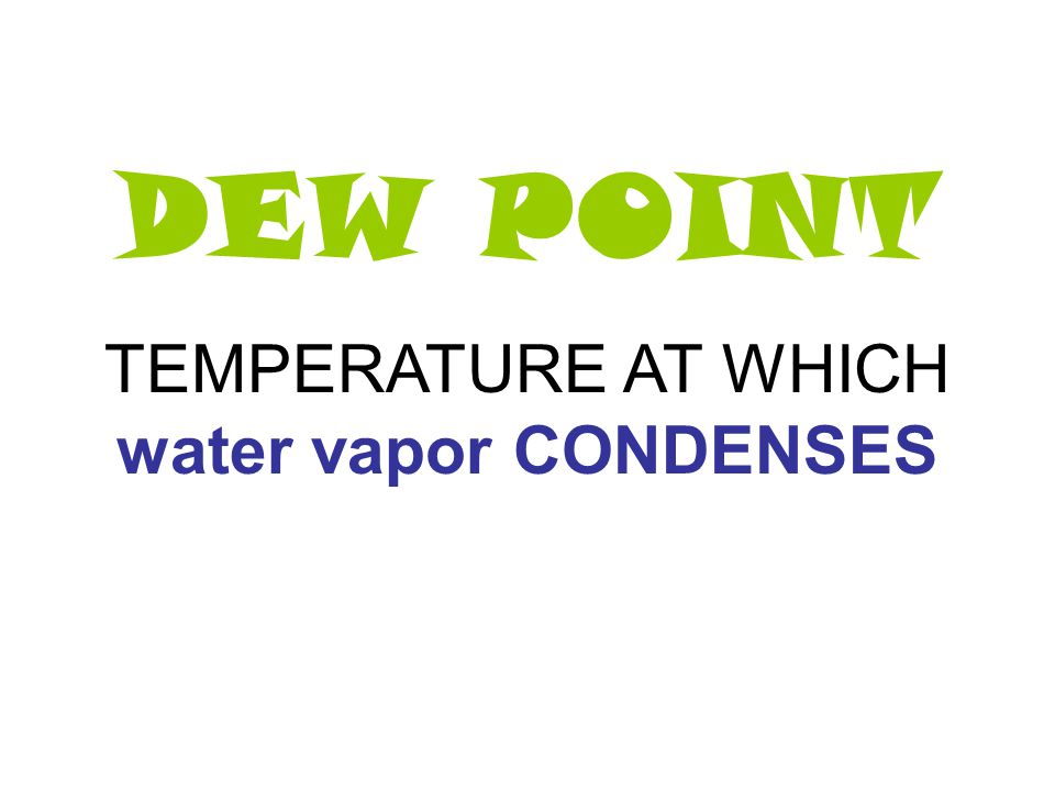 TEMPERATURE AT WHICH water vapor CONDENSES